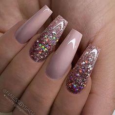 Cute Acrylic Nail Designs, Best Acrylic Nails, Nail Art Designs, Nails Design, Acrylic Nails Coffin Glitter, Mauve Nails, Rose Gold Nails, Fancy Nails, Bling Nails
