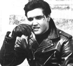 "greaseisthewordposts: ""Elvis with leather biker jacket """