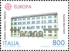 """1990 - """"Europa Unita"""": """"Edifici Postali"""" -  Palazzo delle Poste di Fondaco Tedeschi a Venezia."""