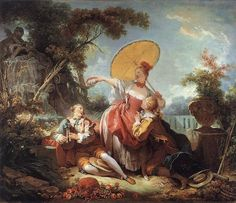 Candy-coated color Palette:   the color palette is full of pastels; soft pinks, yellows and greens dominate both the figures themselves and the background, mostly wooded scenes.    Pastoral Lighting:   Particularly in Fragonard's outdoor scenes, he utilizes a soft, almost nostalgic lighting scheme that blurs the edges of the figures and softens the overall scheme. A silvery or golden tonality was often used, giving the picture an almost mythological air.