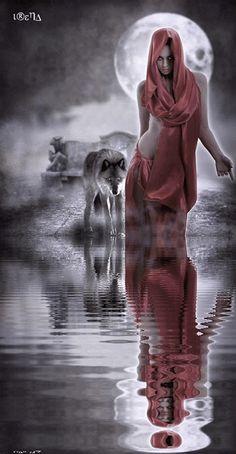 mujer lobo blanco negro rojo gif