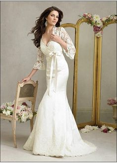 LACE BRIDESMAID PARTY BALL EVENING GOWN IVORY WHITE FORMAL PROM SATIN MERMAID TRUMPET V-NECK WEDDING DRESS