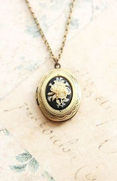 Antique Brass Oval Locket Necklace with Black floral cameo