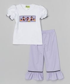 Look what I found on #zulily! White Witch Smocked Tee & Pants - Infant, Toddler & Girls #zulilyfinds