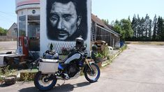 While heading south on the new Tenere Nick Sanders makes a quick stop to pay homage to the late French rock 'n roll pioneer Johnny Halliday. Next stop, southern Spain, the on to Africa and Dakar, Senegal! Johnny Halliday, Off Road Tires, Dual Sport, Trekking, Rock N Roll, Spain, Southern, Africa, Motorcycle