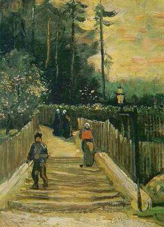 "https://www.facebook.com/VincentvanGogh.MiaFeigelson.Gallery ""Sloping path in Montmartre"" (Paris. Spring, 1886) [F 232] By Vincent van Gogh, from Zundert, Netherlands (1853 - 1890) - oil on cardboard on multiplex board; 22 x 16 cm - Place of creation: Montmartre, Paris © Van Gogh Museum, Amsterdam http://www.vangoghmuseum.nl/ https://www.facebook.com/VanGoghMuseum"