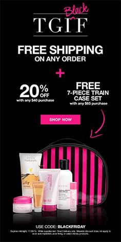 Avon Free Shipping on Any Order Plus 20% Off Deal and Free Gift Offer Avon Free Shipping Any Order, Avon Discount Code, and Avon Free Gift with Purchase Offer – Get Avon free shipping on ANY order and 20% off your online Avon order of $40 or more with Avon coupon code: