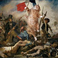La Libertad guiando al pueblo, de Eugene Delacroix. | 17 obras de arte clásicas mejoradas por un gato gordo pelirrojo