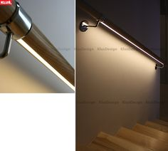 LED fixtures to illuminate stairs and handrails.