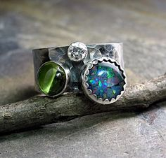 Wide Band 3-stone Ring - Treasures    ...from Lavender Cottage Jewelry   # Pin++ for Pinterest #