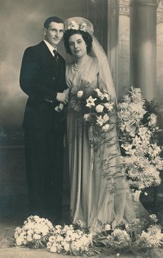+~+~ Antique Photograph ~+~+  Happy couple on their wedding day. c. 1947