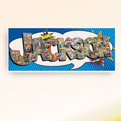 superhero party  Customized 8x20 art poster with each letter of your named collaged with vintage comic book cover art. Choose from Marvel, DC, or specify specific heroes.