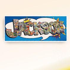 Personalized superhero comic book collage name - Digital  file