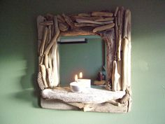 Small Driftwood Mirror with Shelf by TidalCreations.  Must look for driftwood.
