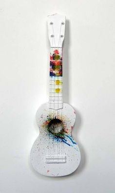 """This reminds me of that one time Dillon was playing and his fingers started bleeding but he just kept playing. <-So I'm about to get a ukulele, so there'll be some uke """"spam""""! Ukulele Art, Cool Ukulele, Ukulele Songs, Guitar Art, Guitar Painting, Music Painting, Painted Ukulele, Painted Guitars, Ukulele Design"""