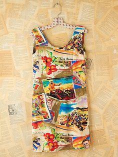 vintage travel printed dress
