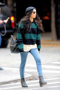 Zoë Kravitz - A wide stripe crewneck is the epitome of off-duty style. For casual cool, layer yours over a T-shirt and skinnies likeZoë Kravitz or keep the look polished with a high-waisted silhouette.