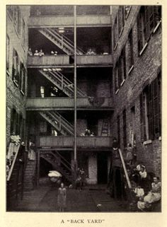 "A typical ""back yard"" in the Maxwell St/Taylor St. area, 1901, Chicago."