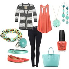 """Coral and Turquoise"" by kerijo83 on Polyvore"