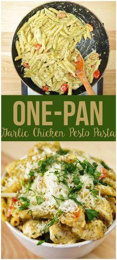 Pastas con peso, pollo y ajo en una sartén