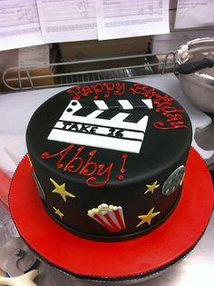 Movie Lovers Popcorn Birthday Cake CUPCAKE AND CAKE DECORATING - Movie themed birthday cake