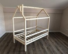 Toddler bed montessori bed house bed home bed teepee kids bed Toddler Furniture, Baby Furniture, Wooden Furniture, Toddler Teepee, Toddler Bed, Nursery Bedding, Nursery Room, Teepee Bed, Pine Beds