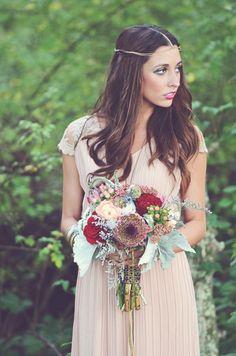 Woodland Bohemian Wedding Ideas - Berry toned wedding bouquet and Blush Bridesmaid Dress