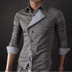 Korean style Men's Gray Checkered Detail Slim-Fitting Shirt