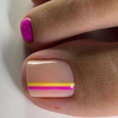 Bright Toe Nails, Gel Toe Nails, Pretty Toe Nails, Toe Nail Art, Gel Toes, Nails With Stripes, Pretty Toes, Stiletto Nails, Toenails