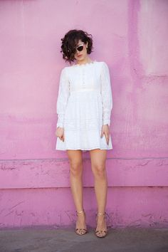 white crochet dress + gold rhinestone heels + taupe nails + delicate gold jewelry