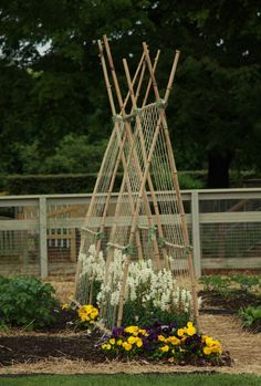 Love this idea for runner beans and climbers, with space underneath for growing quick croppers or more pollinating flowers.