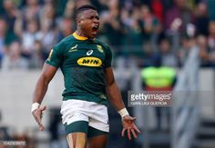 South Africa's winger Aphiwe Dyantyi reacts after scoring a try during the Rugby Championship match between South Africa and Australia at Nelson. Rugby Pictures, Rugby Championship, Rugby Men, World Rugby, Rugby Players, 25 Years Old, Muscle Mass, Thing 1 Thing 2, World Cup