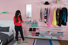 Ikea ALGOT closet system with mirror attached Ikea Algot, Closet System, House Goals, Room Organization, Closet Ideas, Adulting, Simple, Organizing, Boss