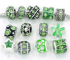 Ten (10) of Assorted August Peridot Green Crystal Rhinestone Beads (Styles You Will Receive Are Shown in Picture Random 10 Beads Mix) Charms Spacers for Bracelets Fits Pandora, Biagi, Troll, Chamilla and Many Others