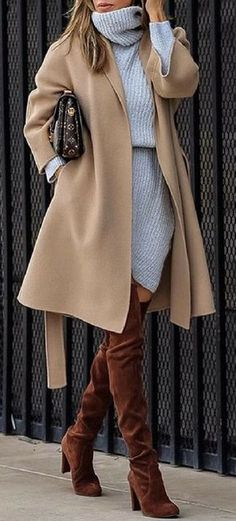 how to style a nude coat : sweater dress brown over the knee boots
