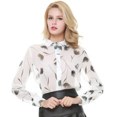 HDY Haoduoyi Floral Print Chiffon Blouse Women Single Breasted Long Sleeve Women Shirts Turn-down Collar Casual Female Blusas
