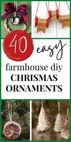 40 Easy Homemade Christmas Ornaments in Rustic Farmhouse Style