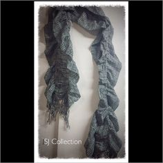 Sj Collection Ruched Scarf W/ Fringe.