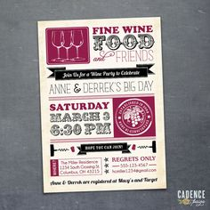 Wine Party, WineTasting, Cocktail Party, Couples Shower Invitation  (PRINTABLE)