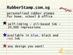 Customise your own personalised rubber stamps that is perfect for home, school & office use! You can choose any design that you want! Head over to http://www.rubberstamp.com.sg/ for more information!