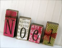Double Sided Wood Blocks Love and Noel.  Get 2 decorations in 1 - Valentine's Christmas Decoration