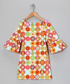 White & Orange Snowflake Dress - Toddler & Girls