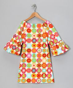 White & Orange Snowflake Dress - Toddler & Girls
