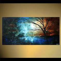 Original Abstract Contemporary Moon Tide Acrylic Painting Blue, Brown Tree Painting by Osnat Tzadok  - MADE-TO-ORDER