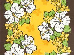 Hawaiian fabric yellow brown hibiscus and plumeria Pau skirt fabric Hula fs04gm