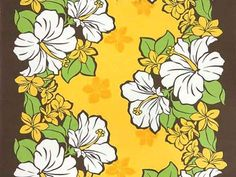 Shirhama Mariner | Rakuten Global Market: Hawaiian fabric yellow brown hibiscus and plumeria Pau skirt fabric Hula fs04gm