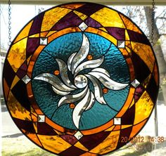 Round Stained Glass Panel - by Amberglass Studio