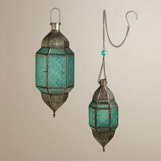 $14.99 - $19.99 Blue Sabita Embossed Glass Hanging Lanterns | World Market