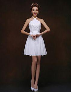 uma linha / princesa halter mini vestido curto / dama de honra (819)