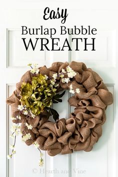 Using a wire frame and burlap ribbon you can make this beautiful spring wreath in less than 30 minutes. Burlap Crafts, Wreath Crafts, Diy Wreath, Wreath Ideas, Diy Crafts, Burlap Bubble Wreath, Tulle Wreath, Burlap Ribbon, Burlap Flowers